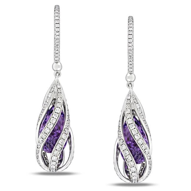 Miadora 14k White Gold Amethyst and 1 5/8ct TDW Diamond Earrings (G-H, SI1-SI2)