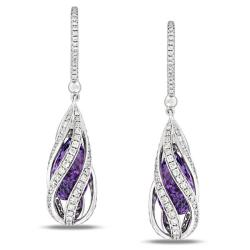 Miadora 14k White Gold Amethyst and 1 5/8ct TDW Diamond Earrings (G-H, SI1-SI2)