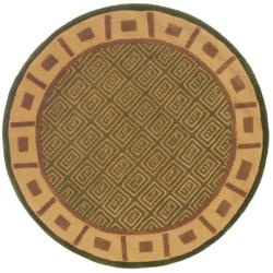 Handmade Passage Green Wool Rug (5' Round)