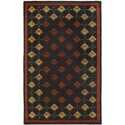 Safavieh Handmade Diamonds Black Wool Rug (8'3 x 11')