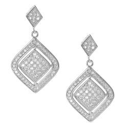 Journee Collection Silvertone Pave-set CZ Dangle Earrings
