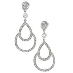 Journee Collection Silvertone Pave-set CZ Teardrop Dangle Earrings