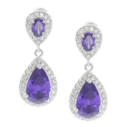 Journee Collection Silvertone Purple and White CZ Teardrop Dangle Earrings