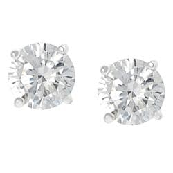 Journee Collection Silvertone Round-cut CZ Stud Earrings