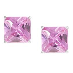 Journee Collection Silvertone Princess-cut Pink CZ Stud Earrings