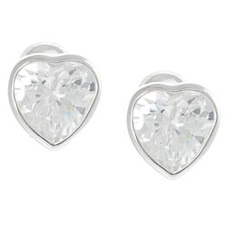 Journee Collection Silvertone CZ Heart Stud Earrings