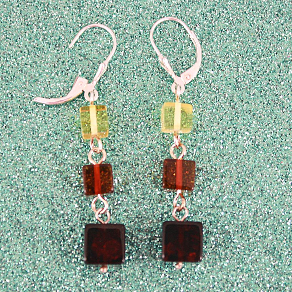 Sterling Silver Graduating Amber Cubes Earrings (Lithuania)