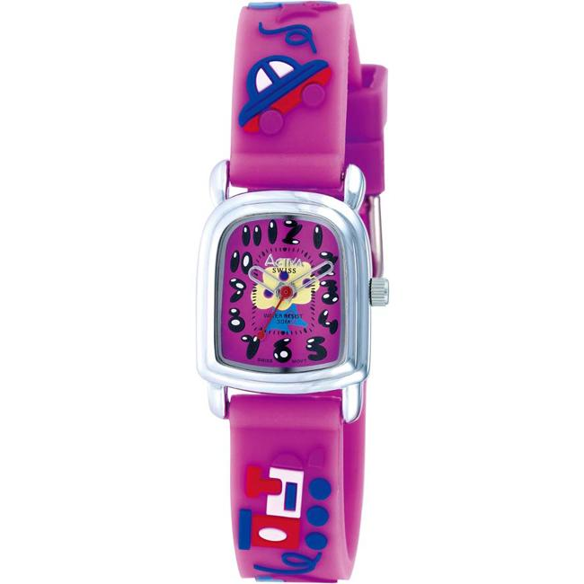 Activa Juniors' Tree Design Dark Pink Rubber Watch