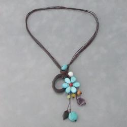 Cotton Rope Pretty Drop Cluster Multi-gemstone Necklace (Thailand)