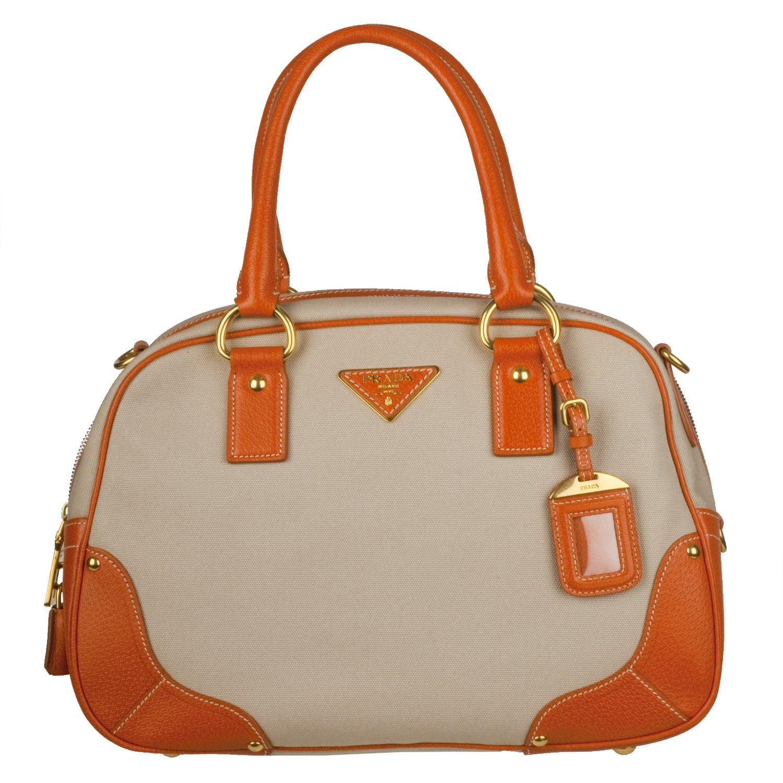 prada ladies wallets - Prada \u0026#39;Canapa Cinghiale-Bauletto\u0026#39; Beige Canvas Orange Leather ...