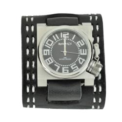 Nemesis Men's Black Sharp Bold Square Leather Watch