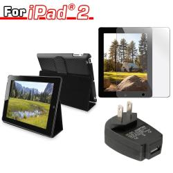 3-piece Leather Case/ Travel Charger/ Screen Protector for Apple iPad 2