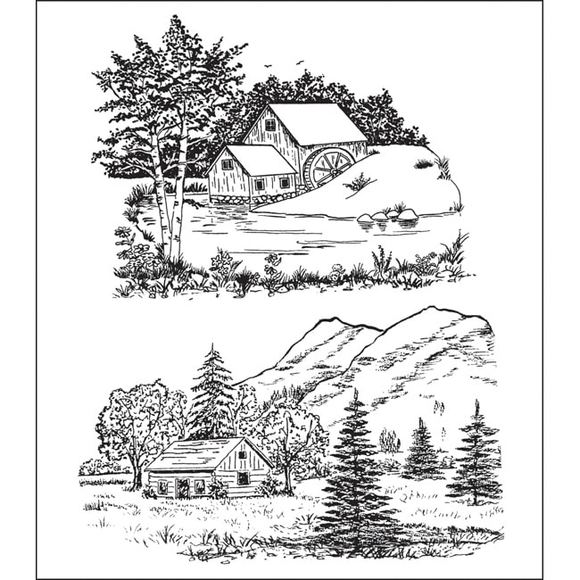 Heartfelt Creations Scenic Combo Cling Rubber Stamp Set