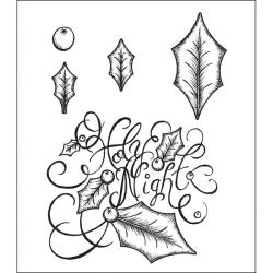 Heartfelt Creations Holly Leaves Cling Rubber Stamp Set