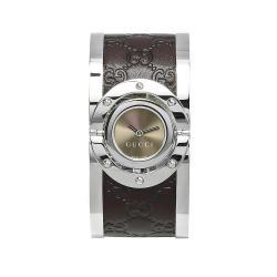 Gucci Women's YA112433 'Twirl' Medium Brown Guccissima Leather Bangle Watch