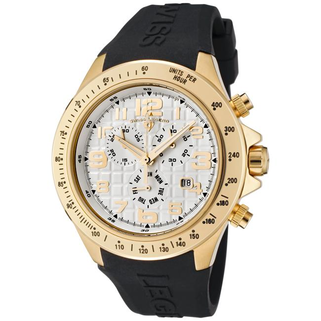 Swiss Legend Men's Eograph White Dial Black Silicone Chronograph Watch