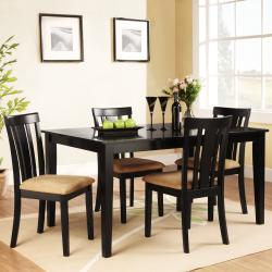 Wilma Black Slat Back Cushioned 5-piece Dining Set