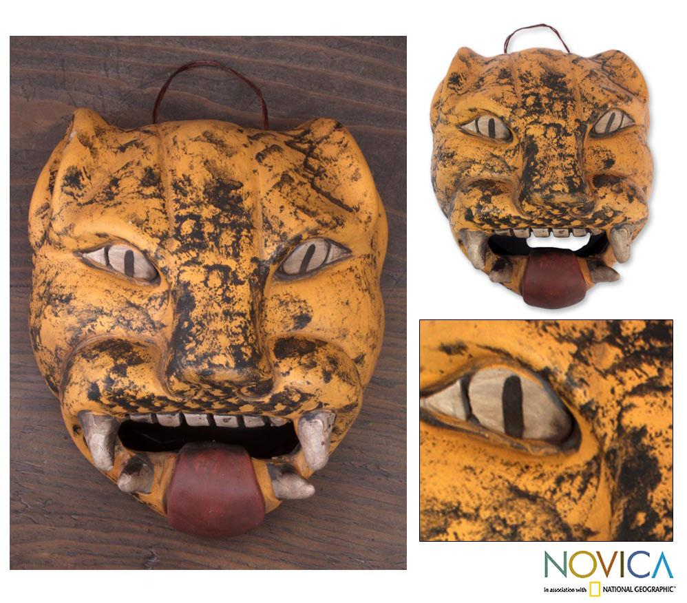 Handcrafted Ceramic 'Fierce Male Jaguar' Mask (Mexico)