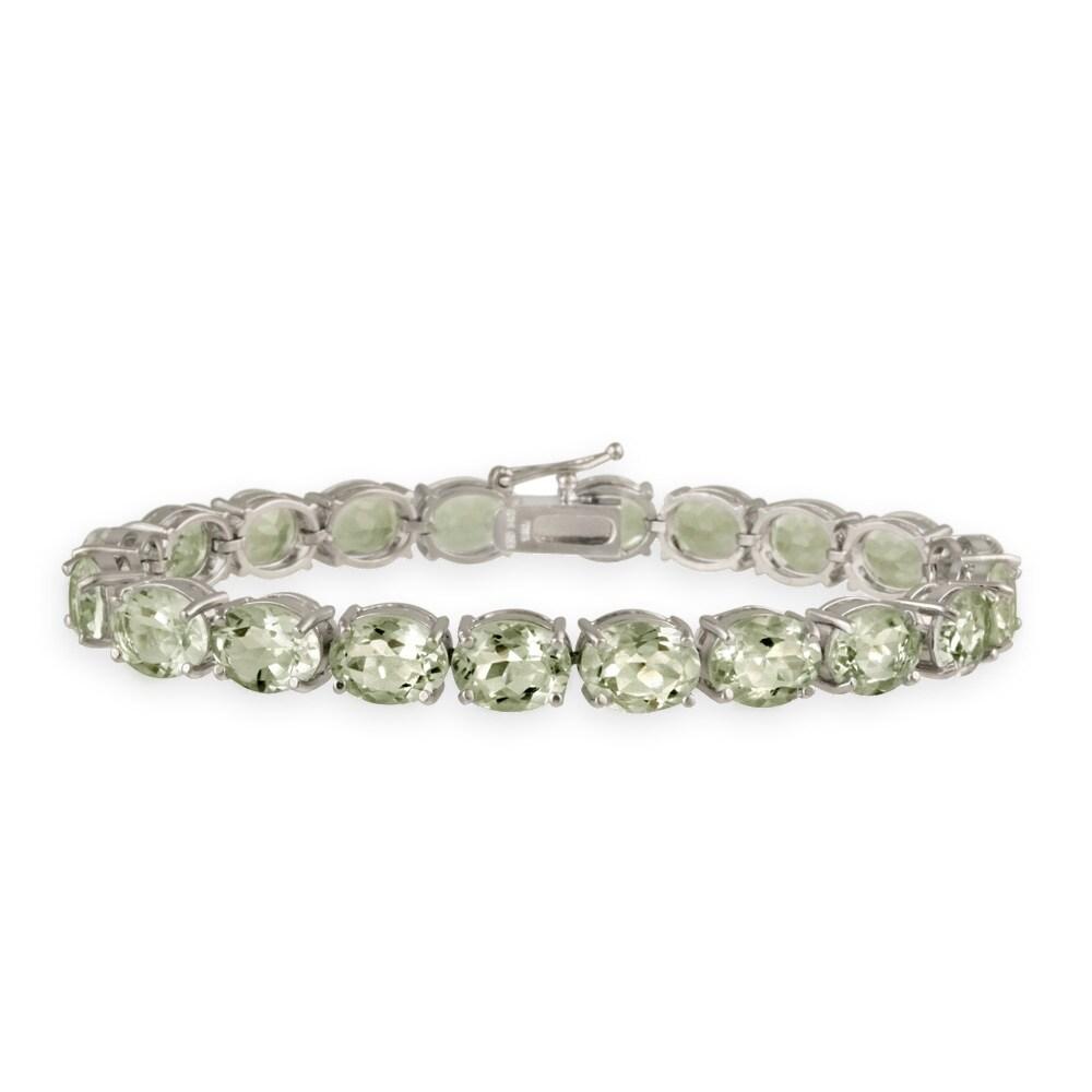 Glitzy Rocks Sterling Silver 33 CTW Green Amethyst Bracelet