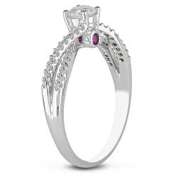 14k White Gold 1/2ct TDW Diamond and Pink Sapphire Engagement Ring (G-H, I2-I3)