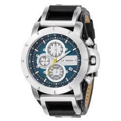 Fossil Men's Leather Strap Blue Dial Chronograph Watch