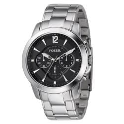 Fossil Men's Stainless Steel Bracelet Black Dial Chronograph Watch