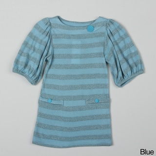 Paulinie Collection Girl's Quarter-sleeve Striped Tunic