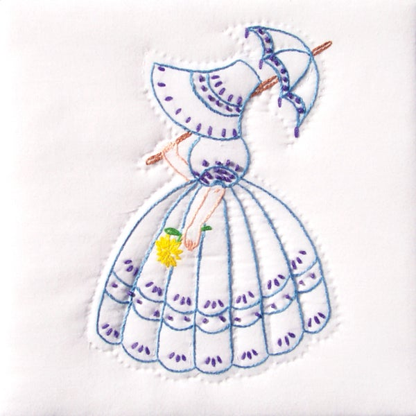 "Stamped White Quilt Blocks 9""X9"" 12/Pkg-Parasol Lady"