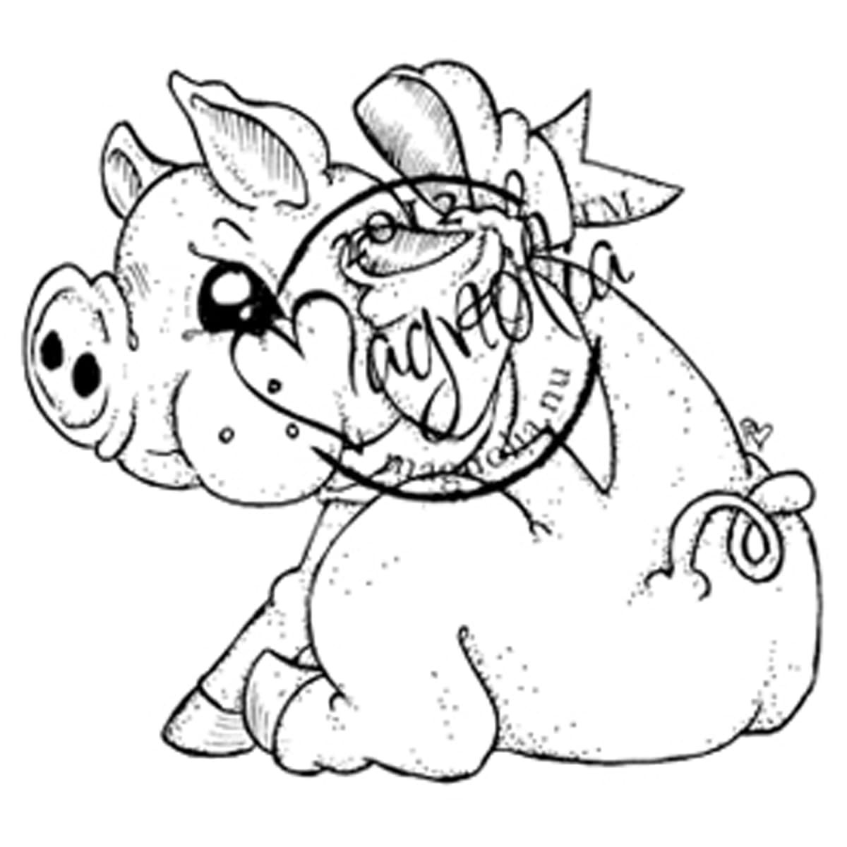 A Christmas Story Cling Stamp-Sweet Piglet