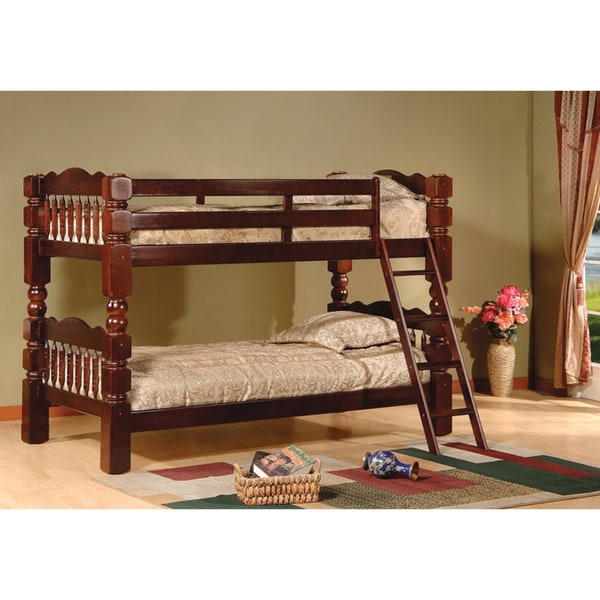 Carved Spindle Esprit Cherry Finish Bunk Bed