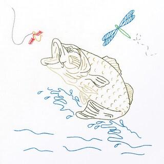 """Stamped White Quilt Blocks 18""""X18"""" 6/Pkg-Fish"""