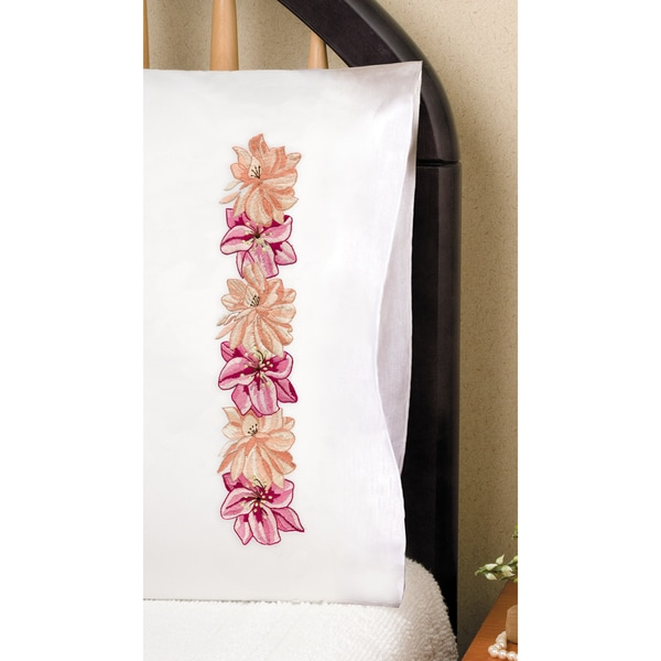 "Stamped Pillowcase Pair 20""X30"" For Embroidery-Pink Floral"