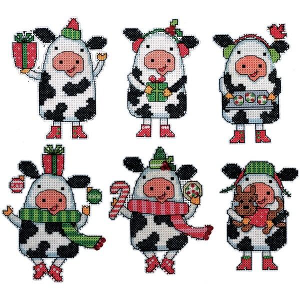 Cows Ornaments Plastic Canvas Kit-Set Of 6