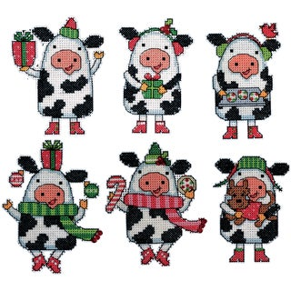 Cows Ornaments Plastic Canvas Kit-Set Of 6