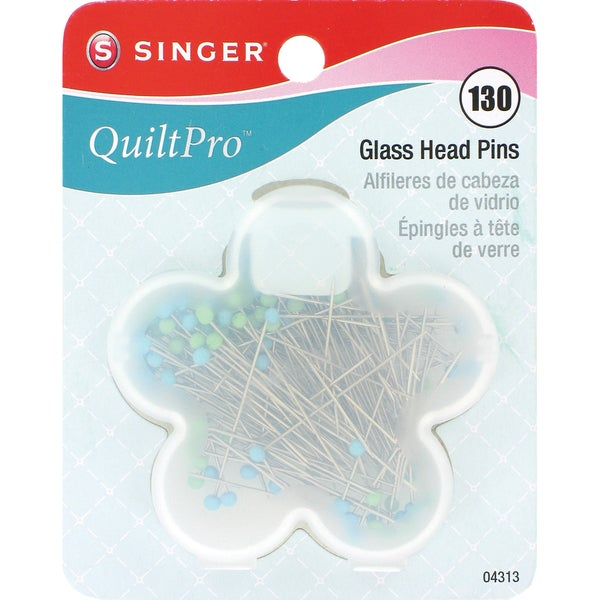 "QuiltPro Glass Head Pins In Flower Case-Size 22 1-3/8"" 130/Pkg"