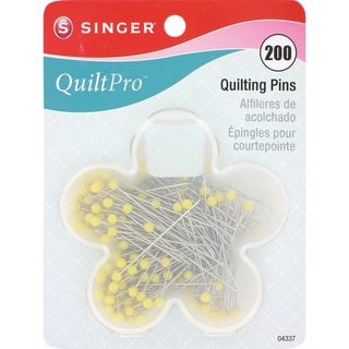 QuiltPro Quilting Pins In Flower Case-Size 28 1-3/4