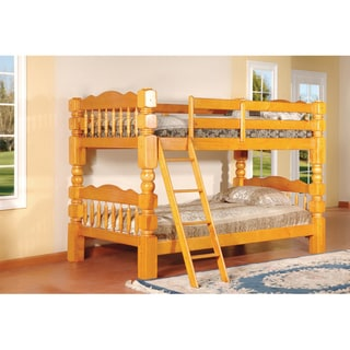 Carved Spindle Honey Oak Finish Bunk Bed