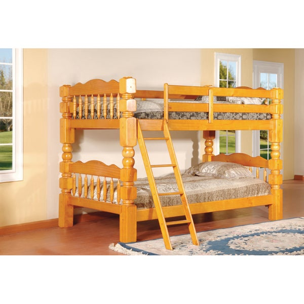 Carved Spindle Honey Oak Finish Bunk Bed Free Shipping Today