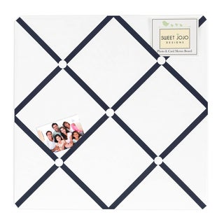 Sweet JoJo Designs White and Navy Hotel Fabric Memory Board