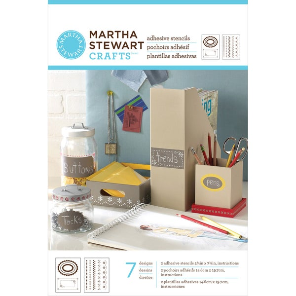 "Martha Stewart Adhesive Stencils 5-3/4""X7-3/4"" 2 Sheets/Pkg-Pretty Borders 7 Designs"