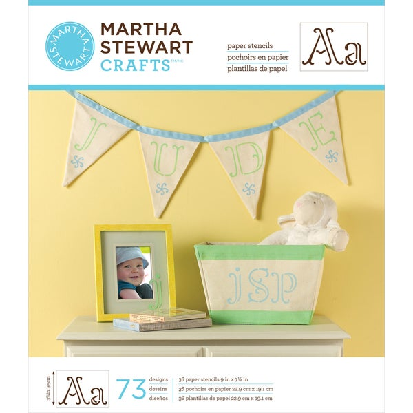 "Martha Stewart Large Paper Stencils 9""X7.5"" 36 Sheets/Pkg-Ornate Alphabet 73 Designs"