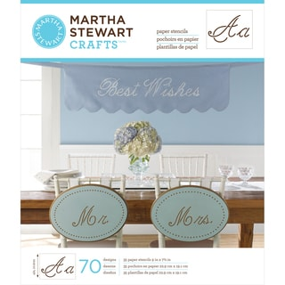 "Martha Stewart Large Paper Stencils 9""X7.5"" 35 Sheets/Pkg-Script Alphabet 70 Designs"