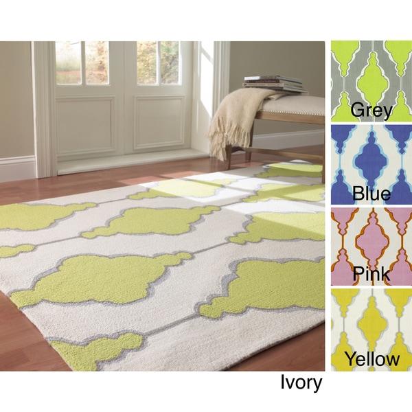 nuLOOM Handmade Swirls Trellis Wool Rug (6' x 9')