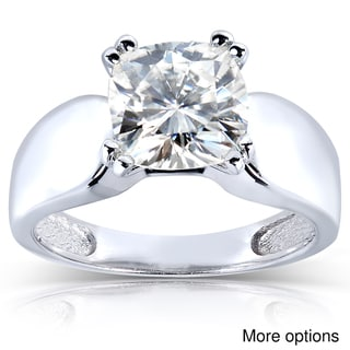 14k White Gold Cushion-cut Moissanite Solitaire Ring