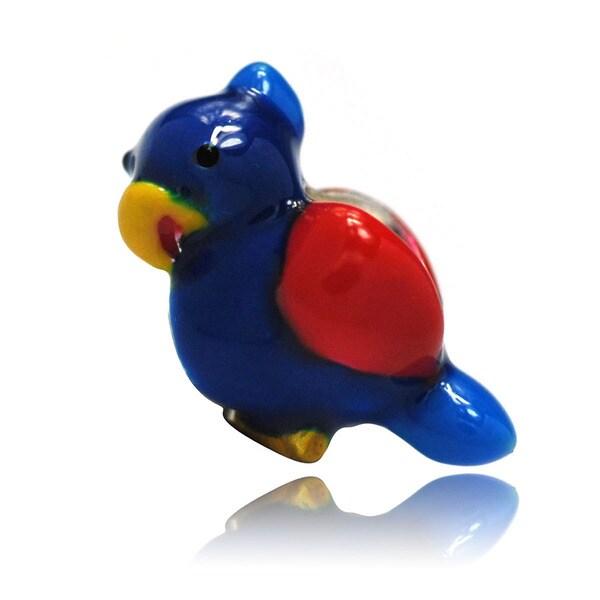 De Buman Sterling Silver Enamel Bird Charm Bead