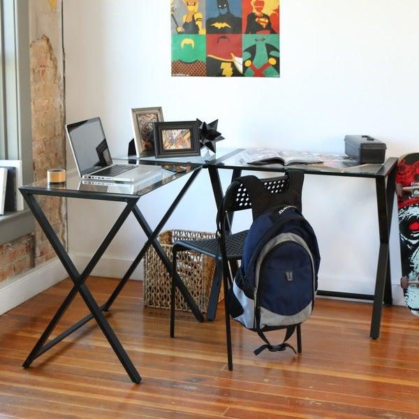 X Frame Glass Corner Computer Desk