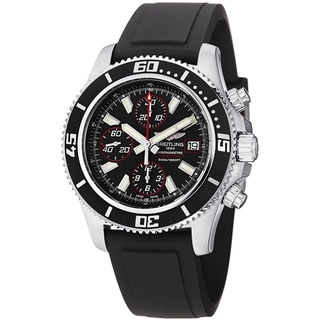 Breitling Men's 'SuperOcean Chrono' Black Dial Black Strap Watch