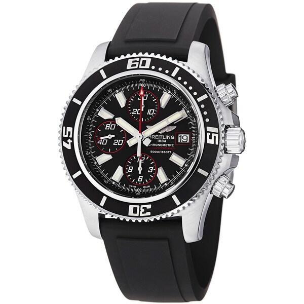 Breitling Men's A1334102/BA81 'SuperOcean Chrono' Black Dial Black Strap Watch