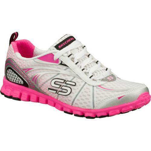 Women's Skechers EZ Flex Barbed Wire White/Pink