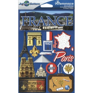 "Jet Setters International Dimensional Stickers 4.5""X6.75""-France"